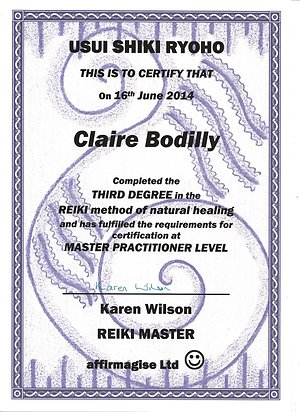 Therapies Available. Reiki Master Practitioner Certificate